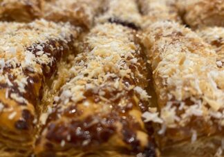 Zabaan Flaky Puff Pastry with Toasted Coconut - It's vegan too!